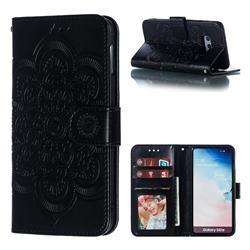 Intricate Embossing Datura Solar Leather Wallet Case for Samsung Galaxy S10e (5.8 inch) - Black