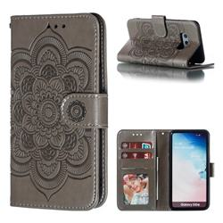 Intricate Embossing Datura Solar Leather Wallet Case for Samsung Galaxy S10e (5.8 inch) - Gray