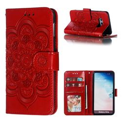 Intricate Embossing Datura Solar Leather Wallet Case for Samsung Galaxy S10e (5.8 inch) - Red