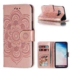 Intricate Embossing Datura Solar Leather Wallet Case for Samsung Galaxy S10e (5.8 inch) - Rose Gold