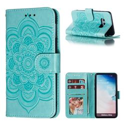 Intricate Embossing Datura Solar Leather Wallet Case for Samsung Galaxy S10e (5.8 inch) - Green
