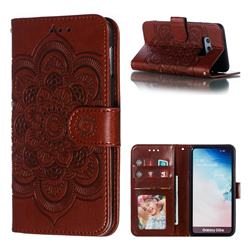 Intricate Embossing Datura Solar Leather Wallet Case for Samsung Galaxy S10e (5.8 inch) - Brown