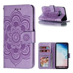 Intricate Embossing Datura Solar Leather Wallet Case for Samsung Galaxy S10e (5.8 inch) - Purple