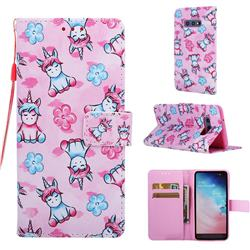 Unicorn and Flowers Matte Leather Wallet Phone Case for Samsung Galaxy S10e (5.8 inch)