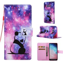 Panda Baby Matte Leather Wallet Phone Case for Samsung Galaxy S10e (5.8 inch)
