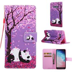 Cherry Blossom Panda Matte Leather Wallet Phone Case for Samsung Galaxy S10e (5.8 inch)