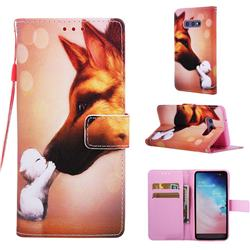 Hound Kiss Matte Leather Wallet Phone Case for Samsung Galaxy S10e (5.8 inch)