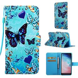 Love Butterfly Matte Leather Wallet Phone Case for Samsung Galaxy S10e (5.8 inch)