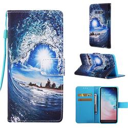 Waves and Sun Matte Leather Wallet Phone Case for Samsung Galaxy S10e (5.8 inch)