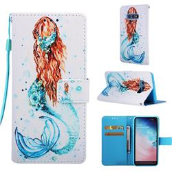 Mermaid Matte Leather Wallet Phone Case for Samsung Galaxy S10e (5.8 inch)