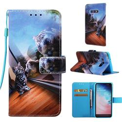 Mirror Cat Matte Leather Wallet Phone Case for Samsung Galaxy S10e (5.8 inch)