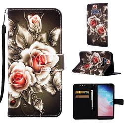 Black Rose Matte Leather Wallet Phone Case for Samsung Galaxy S10e (5.8 inch)