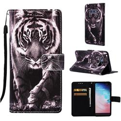 Black and White Tiger Matte Leather Wallet Phone Case for Samsung Galaxy S10e (5.8 inch)