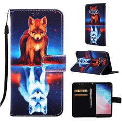 Water Fox Matte Leather Wallet Phone Case for Samsung Galaxy S10e (5.8 inch)