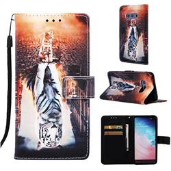 Cat and Tiger Matte Leather Wallet Phone Case for Samsung Galaxy S10e (5.8 inch)