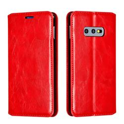 Retro Slim Magnetic Crazy Horse PU Leather Wallet Case for Samsung Galaxy S10e (5.8 inch) - Red