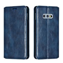 Retro Slim Magnetic Crazy Horse PU Leather Wallet Case for Samsung Galaxy S10e (5.8 inch) - Blue