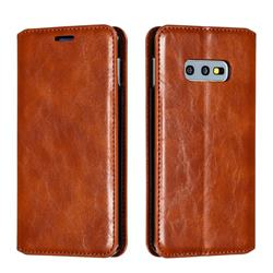 Retro Slim Magnetic Crazy Horse PU Leather Wallet Case for Samsung Galaxy S10e (5.8 inch) - Brown