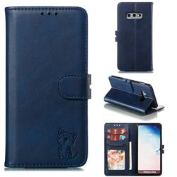Embossing Happy Cat Leather Wallet Case for Samsung Galaxy S10e (5.8 inch) - Blue