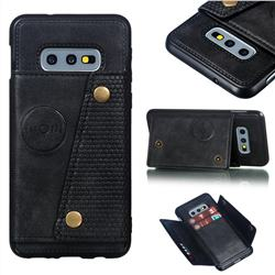 Retro Multifunction Card Slots Stand Leather Coated Phone Back Cover for Samsung Galaxy S10e (5.8 inch) - Black