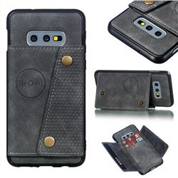 Retro Multifunction Card Slots Stand Leather Coated Phone Back Cover for Samsung Galaxy S10e (5.8 inch) - Gray