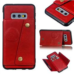 Retro Multifunction Card Slots Stand Leather Coated Phone Back Cover for Samsung Galaxy S10e (5.8 inch) - Red