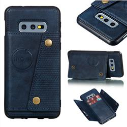Retro Multifunction Card Slots Stand Leather Coated Phone Back Cover for Samsung Galaxy S10e (5.8 inch) - Blue