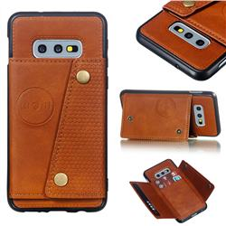 Retro Multifunction Card Slots Stand Leather Coated Phone Back Cover for Samsung Galaxy S10e (5.8 inch) - Brown
