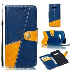 Retro Magnetic Stitching Wallet Flip Cover for Samsung Galaxy S10e (5.8 inch) - Blue