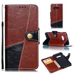 Retro Magnetic Stitching Wallet Flip Cover for Samsung Galaxy S10e (5.8 inch) - Dark Red