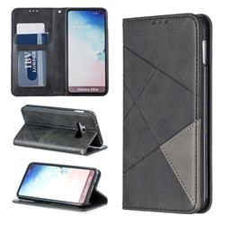 Prismatic Slim Magnetic Sucking Stitching Wallet Flip Cover for Samsung Galaxy S10e (5.8 inch) - Black