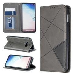 Prismatic Slim Magnetic Sucking Stitching Wallet Flip Cover for Samsung Galaxy S10e (5.8 inch) - Gray