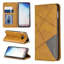 Prismatic Slim Magnetic Sucking Stitching Wallet Flip Cover for Samsung Galaxy S10e (5.8 inch) - Yellow