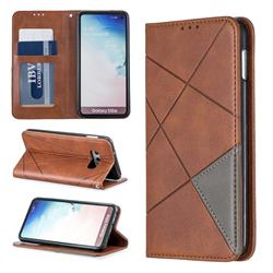 Prismatic Slim Magnetic Sucking Stitching Wallet Flip Cover for Samsung Galaxy S10e (5.8 inch) - Brown