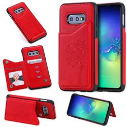 Luxury Tree and Cat Multifunction Magnetic Card Slots Stand Leather Phone Back Cover for Samsung Galaxy S10e (5.8 inch) - Red