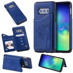 Luxury Tree and Cat Multifunction Magnetic Card Slots Stand Leather Phone Back Cover for Samsung Galaxy S10e (5.8 inch) - Blue