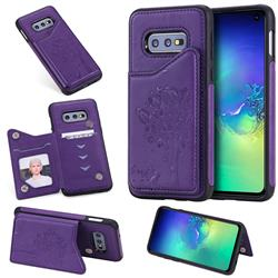 Luxury Tree and Cat Multifunction Magnetic Card Slots Stand Leather Phone Back Cover for Samsung Galaxy S10e (5.8 inch) - Purple