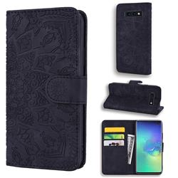 Retro Embossing Mandala Flower Leather Wallet Case for Samsung Galaxy S10e (5.8 inch) - Black