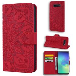 Retro Embossing Mandala Flower Leather Wallet Case for Samsung Galaxy S10e (5.8 inch) - Red