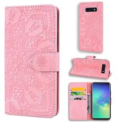 Retro Embossing Mandala Flower Leather Wallet Case for Samsung Galaxy S10e (5.8 inch) - Pink
