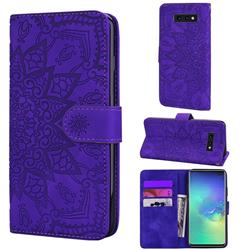 Retro Embossing Mandala Flower Leather Wallet Case for Samsung Galaxy S10e (5.8 inch) - Purple