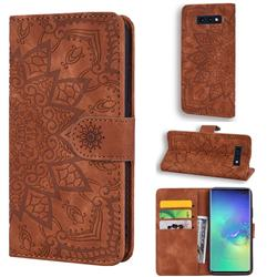 Retro Embossing Mandala Flower Leather Wallet Case for Samsung Galaxy S10e (5.8 inch) - Brown
