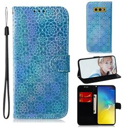 Laser Circle Shining Leather Wallet Phone Case for Samsung Galaxy S10e (5.8 inch) - Blue