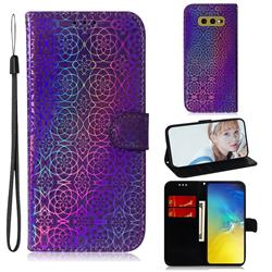 Laser Circle Shining Leather Wallet Phone Case for Samsung Galaxy S10e (5.8 inch) - Purple