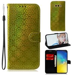 Laser Circle Shining Leather Wallet Phone Case for Samsung Galaxy S10e (5.8 inch) - Golden