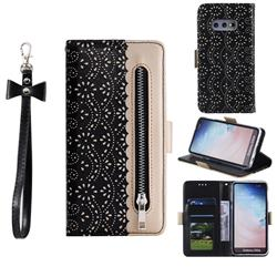 Luxury Lace Zipper Stitching Leather Phone Wallet Case for Samsung Galaxy S10e (5.8 inch) - Black