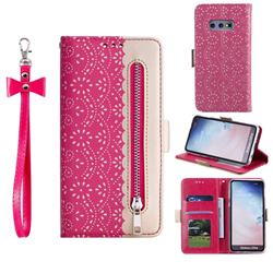 Luxury Lace Zipper Stitching Leather Phone Wallet Case for Samsung Galaxy S10e (5.8 inch) - Rose