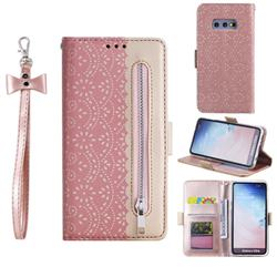 Luxury Lace Zipper Stitching Leather Phone Wallet Case for Samsung Galaxy S10e (5.8 inch) - Pink