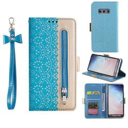 Luxury Lace Zipper Stitching Leather Phone Wallet Case for Samsung Galaxy S10e (5.8 inch) - Blue