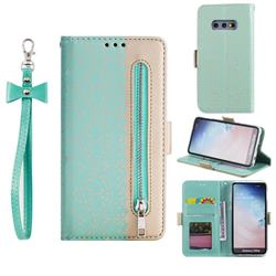 Luxury Lace Zipper Stitching Leather Phone Wallet Case for Samsung Galaxy S10e (5.8 inch) - Green